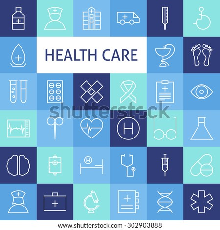 Vector Flat Line Art Modern Healthcare and Medicine Icons Set. Medical and Health Care Icons Set over Colorful Tile. Vector Set of 36 Healthy Lifestyle Modern Line Icons for Web and Mobile