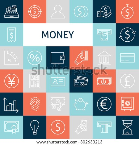 Vector Flat Line Art Modern Money and Finance Icons Set. Banking Icons Set over Colorful Tile. Vector Set of 36 Business Concept and Office Life Modern Line Icons for Web and Mobile. Bank and Banking.