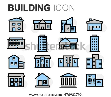 Vector flat line building icons set on white background