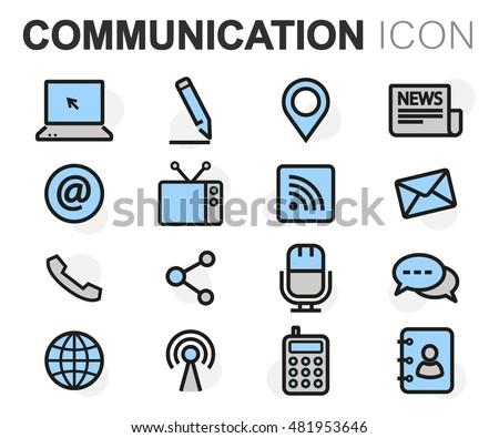 Vector flat line communication icons set on white background