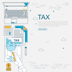Vector flat line design concept for search and analysis, communications and marketing information, service and tax management. Management Accounting Research , Website banner.