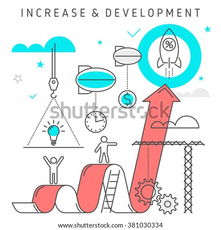 Vector flat line illustration represent increase business from idea to profit. Growth concept development process of  investing time, ideas, technologies, solutions, knowledge to make money.