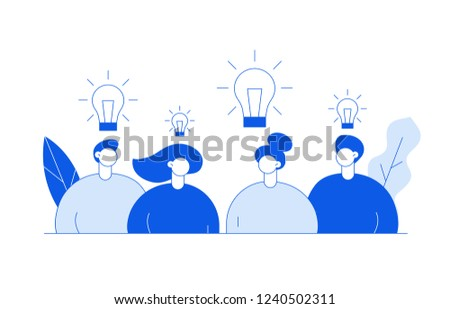 Vector flat line style business teamwork and idea  design concept with big modern people, light bulbs, leaves. Trendy brainstorming  illustration with men and women