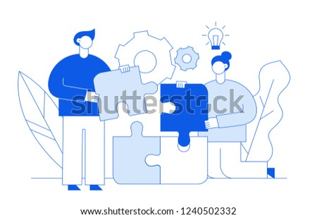 Vector flat line style business teamwork and idea  design concept with big modern people, light bulb, puzzle parts. Trendy brainstorming  illustration with man and woman, cogs, leaves.
