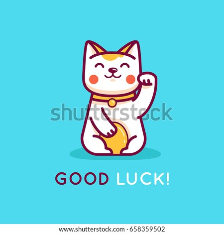 Vector flat linear illustration and logo design template - maneki neko cat wishing good luck with raised paw - smiling character and mascot bringing fortune and wealth