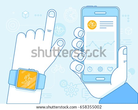 Vector flat linear illustration - health app on the mobile phone and smart watch - health monitoring with mobile gadgets concept