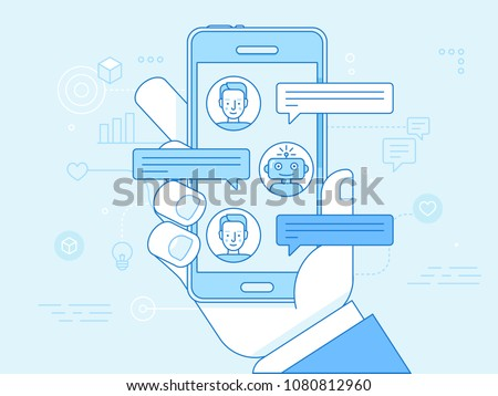 Vector flat linear illustration in blue colors - chatbot concept - virtual assistant and online support