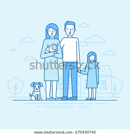 Vector flat linear illustration in blue colors - happy young family -  woman holding newborn with her husband, daughter and dog standing in front of house