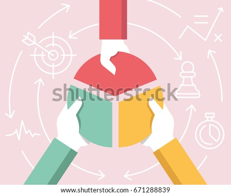 Vector Flat Linear Illustration Related of Communication, Relationship of Stakeholders, Partnership and Team Work