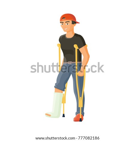 vector flat man with broken leg in plaster cast. Young adult male disabled character in denim jeans, red cap standing on crutches smiling. Isolated illustration on a white background.