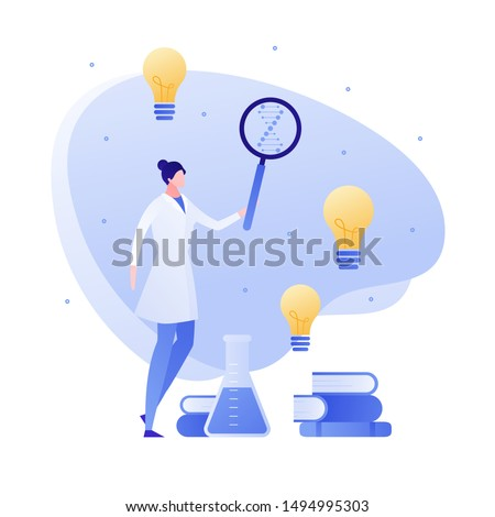Vector flat medical science character illustration. Woman scientist with lab tube, magnifier, and books. Concept of idea, success, discovery, genetic, innovation. Design for banner, poster, web, flyer
