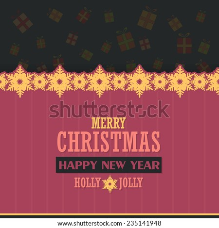 Vector Flat Merry Christmas and Gift Boxes