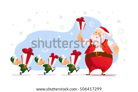 Vector flat merry christmas and happy new year illustration with santa claus and his funny elves with gift box. Cartoon style. Good for Xmas decoration, card design.