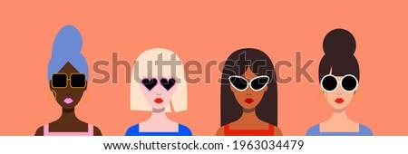 Vector flat minimalist style portrets, international girls in stylish sunglasses. Vectora fashion summer illustration Stockfoto ©