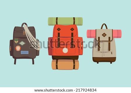 Vector flat modern set of three hiking backpacks Three retro looking stylish camping and mountain exploring backpacks