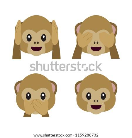 Vector flat monkey emoji