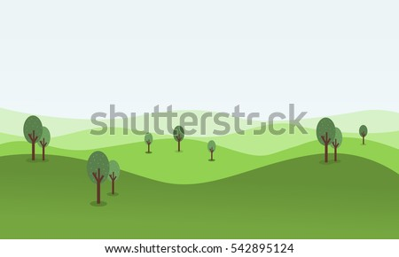 vector flat of rolling hill landscape
