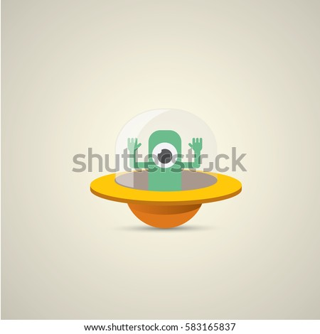 vector flat orange alien