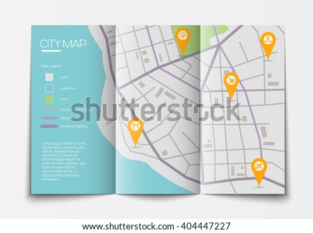 vector flat paper city map