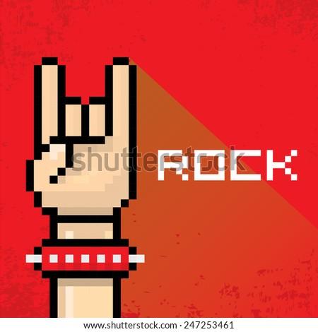 vector flat pixel art hand sign