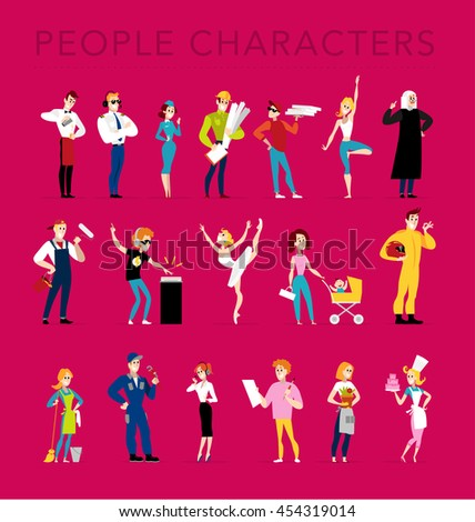 Vector flat profession characters. Human profession icon. Friendly, happy people portrait.  Business team, working group, crew people set. Woman, girl, lady icon. Man, boy, guy icon. Cartoon style.