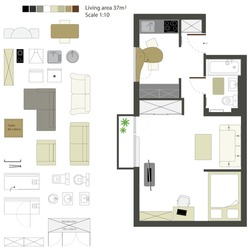 Vector flat projection with furniture. Set. Scale 1:10