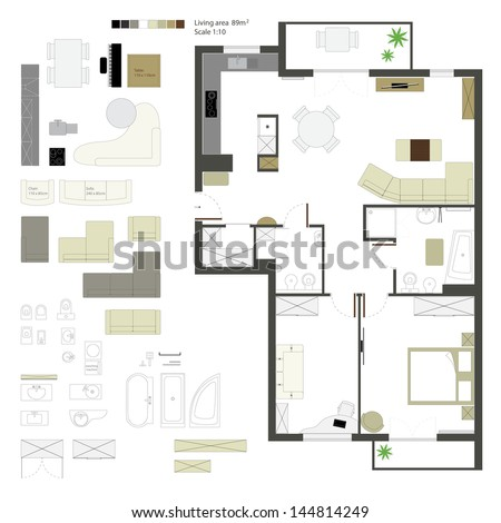 Vector flat projection with furniture. Set. Scale of 1 to 10