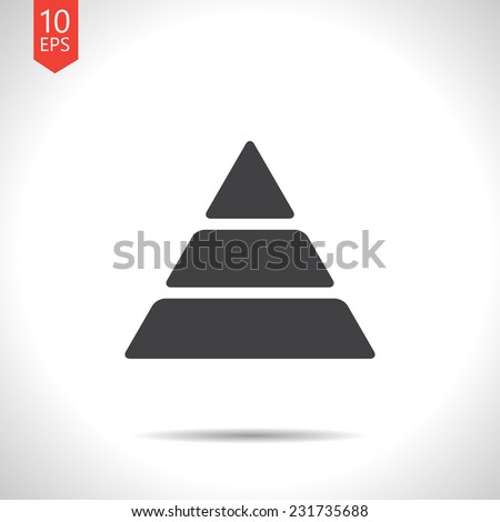 Vector flat pyramid icon isolated on white. Eps10