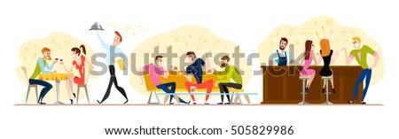 vector flat restaurant people