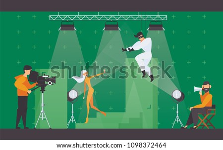 Vector flat scene with superhero movie making scene. Filming director in chair, cameraman with videocamera and two actors on chromakey making a fight scene.