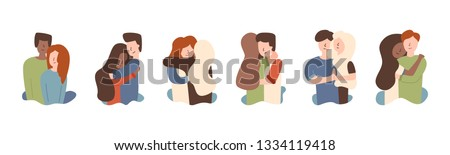 Vector flat set guy with girl hugging African American hugging red-haired girl. Hugs warm feelings affection happy together. African american hugging husband sisters welcome.
