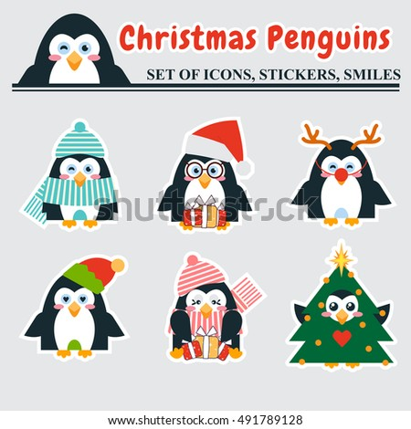 Vector flat set of icons, stickers, smiles. Festive penguins with different face expression. Penguins in Santa Claus, Deer, Elf, Christmas tree, winter hat outfit. Kawaii cartoon characters