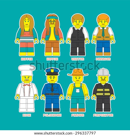 vector flat set of people of