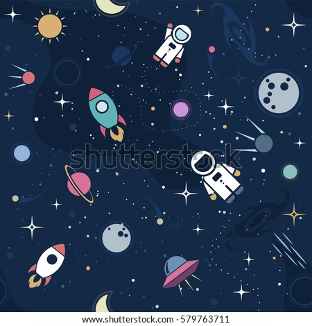 Vector flat space seamless pattern background. Cute color template with Astronaut, Spaceship, Rocket, Moon, Black Hole, Stars in Outer space