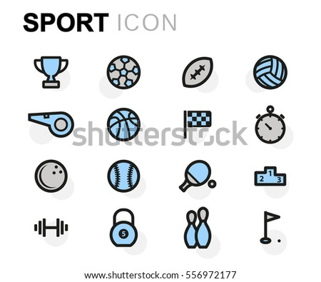 Vector flat sport icons set