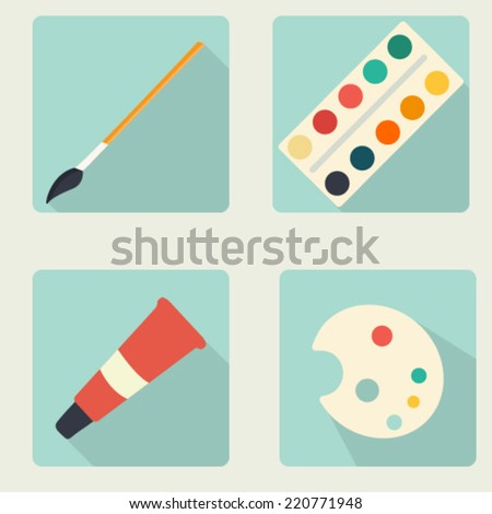 vector flat stationery icon set