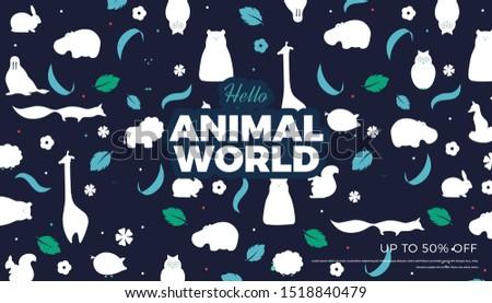 vector flat style animals