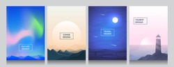 Vector flat style background set. Abstract cover. Gradient poster. Polar light, Himalaya mountains, night desert and lighthouse near water. A4 landscape. UI polygonal futuristic design concept.