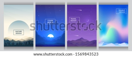 Vector flat style background set. Abstract gradient landscape. Covers, posters, brochures, vouchers design. Sunset forest and mountains, moon light behind clouds near water, night Himalayas, aurora.