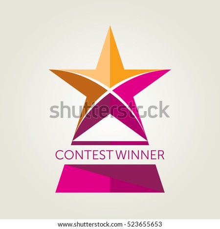 Vector Flat Style Design Of A Star Shaped Award