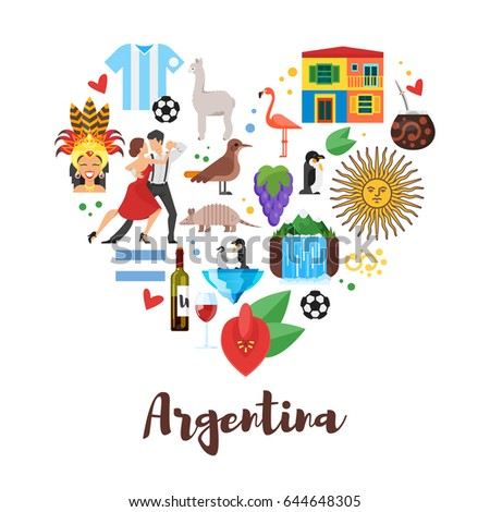 Vector flat style heart shape composition of Argentina national cultural symbols. Template for banner or poster for tourist. Isolated on white background.