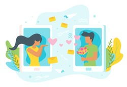 Vector flat style illustration of a man and woman having online relationship. Minimalism design with exaggerated objects. Characters in front of a huge cellphone. Online dating concept.