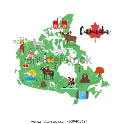 Vector flat style illustration of Canadian map with Canadian national cultural symbols. Isolated on white background.