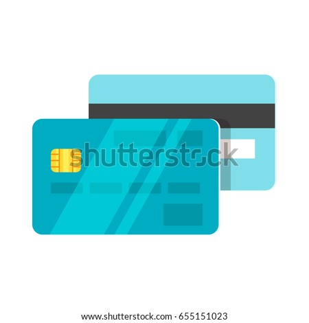 Vector flat style illustration of credit card. Back and front view. Isolated on white background. Icon for web.