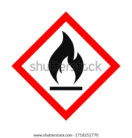 Vector flat style illustration of highly flammable symbol icon isolated on white background Foto stock ©