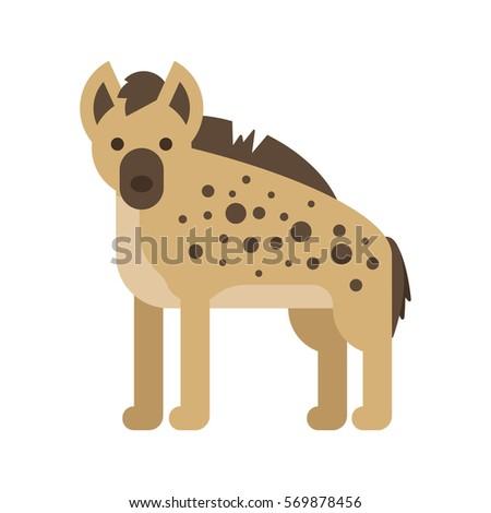Vector flat style illustration of hyena. Icon for web. Isolated on white background.