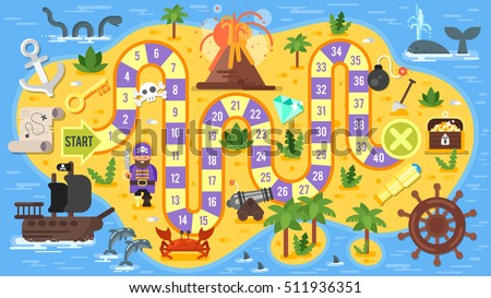 stock vector vector flat style illustration of kids pirate board game template for print 511936351 - Каталог — Фотообои «Для детской»
