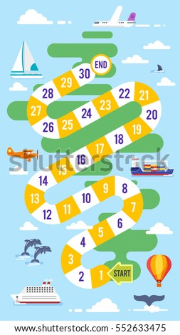 Vector flat style illustration of kids world tour board game template. For print.