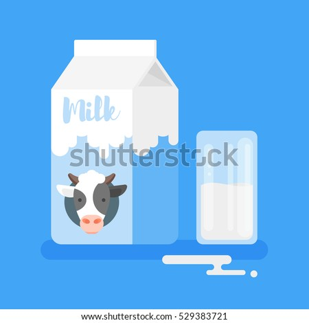 Vector flat style illustration of milk packing and a glass of  milk on blue background. Icon for web.