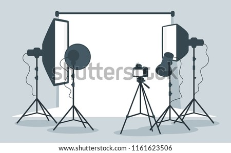 Vector flat style illustration of photo equipment in photography studio with lights and camera.
